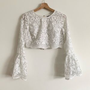 Marciano White Lace Long Sleeve Crop Top